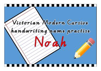 Victorian Modern Cursive name practise - Noah