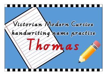 Victorian Modern Cursive name practise - Thomas