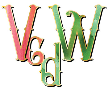 "Victorian Style Alphabet Clip Art, 74pcs, 3.5"" High, Vector PDF and PNGs"