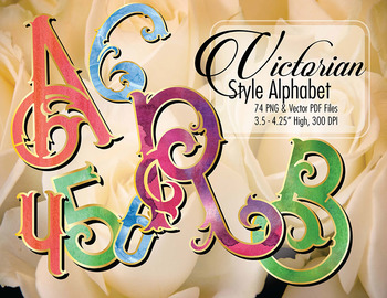 "Victorian Style Alphabet Clip Art, 74pcs, 3.5"" High, Vecto"