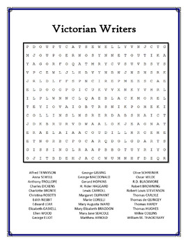 Victorian Writers word search puzzle