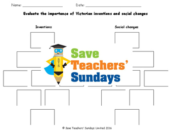 Victorian inventions and changes Lesson Plan and Activities