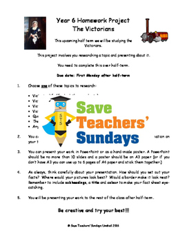 Victorians homework project & presentation Lesson plan & Letter for parents