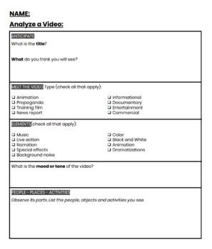 Video Analysis Worksheet - Media Literacy/Fluency Activity