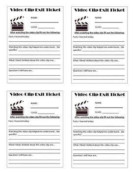 Video Clip Exit Tickets