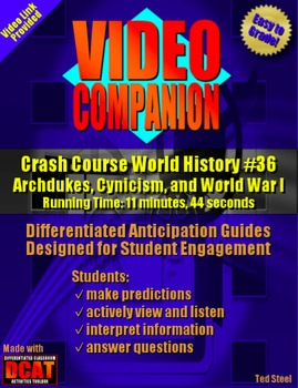 Video Companion: Crash Course World History #36, World War I