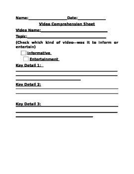 Video Comprehension Form