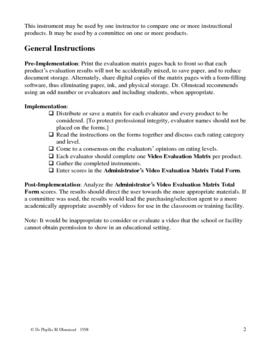 Video Evaluation Matrix