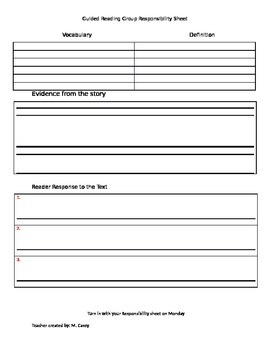 Video Evidence Writing Sheet