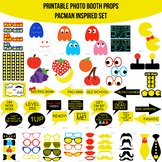 Video Game Classic PacMan Pac-Man Inspired Printable Photo Booth Prop Set