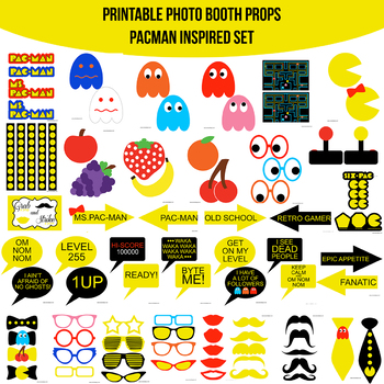 picture relating to Pac Man Printable named Video clip Video game Clic PacMan Pac-Person Impressed Printable Picture Booth Prop Fastened