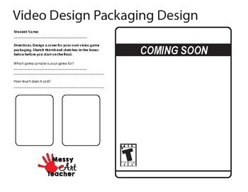 Video Game Package Design Worksheets for Middle/High School