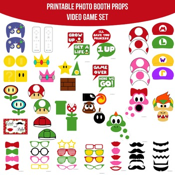 Video Game Printable Photo Booth Prop Set