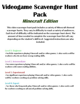 Scavenger Hunt List >> Scavenger Hunt List Pack Minecraft Edition
