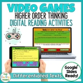 Video Games Digital Reading Comprehension Activity for Google Slides | Fortnite