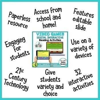 Video Games Digital Reading Comprehension Activity for Google Slides   Fortnite