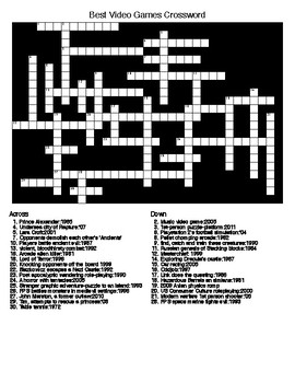 Video Games Word Search and Crossword Puzzles