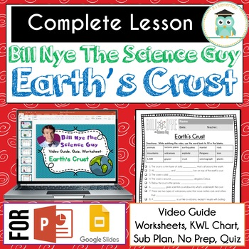 FREE Bill Nye Science EARTH'S CRUST Video Guide Worksheets