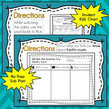 Bill Nye Science EARTH'S CRUST Video Guide, Quiz, Sub Plan, Worksheets, Lesson