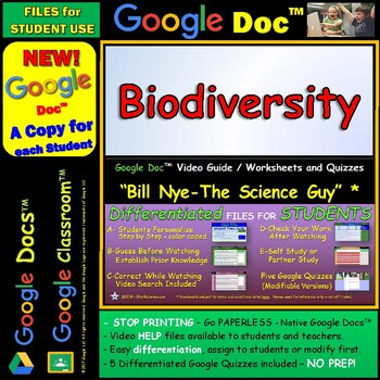 Video Guide, Quiz for Bill Nye – Biodiversity * Google Doc™ for Student