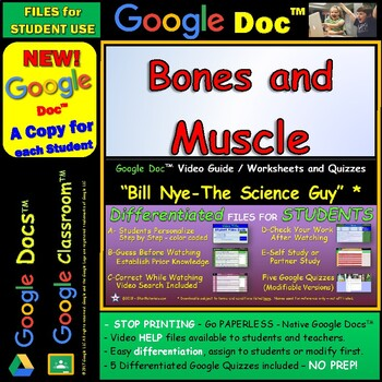 Video Guide, Quiz for Bill Nye – Bones and Muscle * Google Doc™ for Student