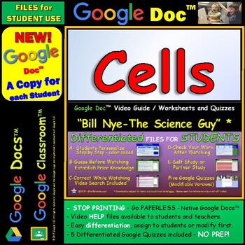 Video Guide, Quiz for Bill Nye – Cells * Google Doc™ for Student