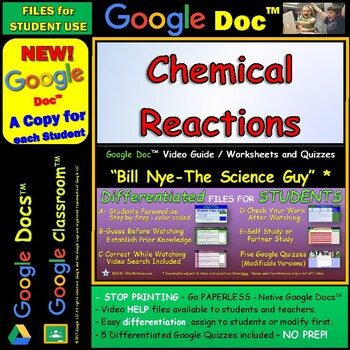 Video Guide, Quiz for Bill Nye – Chemical Reactions * Google Doc™ for Student