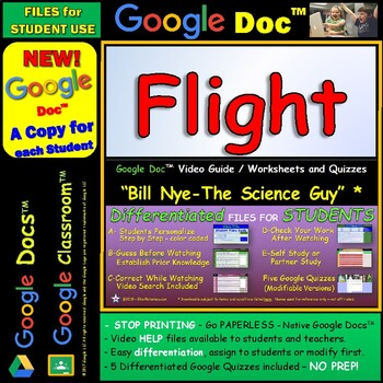 Video Guide, Quiz for Bill Nye – Flight * Google Doc™ for Student