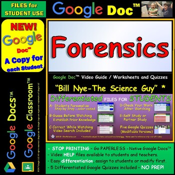 Video Guide, Quiz for Bill Nye – Forensics * Google Doc™ for Student