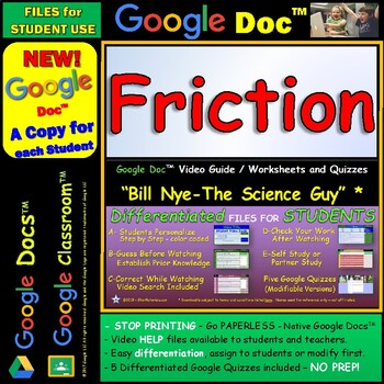 Video Guide, Quiz for Bill Nye – Friction * Google Doc™ for Student