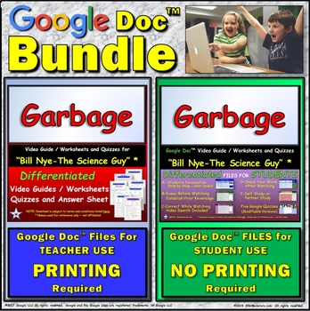 Video Guide, Quiz for Bill Nye – Garbage * Value BUNDLE