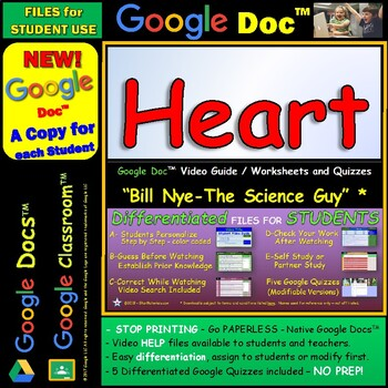 Video Guide, Quiz for Bill Nye – Heart * Google Doc™ for Student