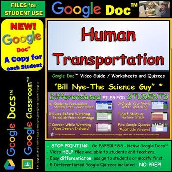 Video Guide, Quiz for Bill Nye – Human Transportation * Google Doc™ for Student