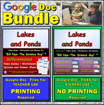 Video Guide, Quiz for Bill Nye – Lakes and Ponds * Value BUNDLE
