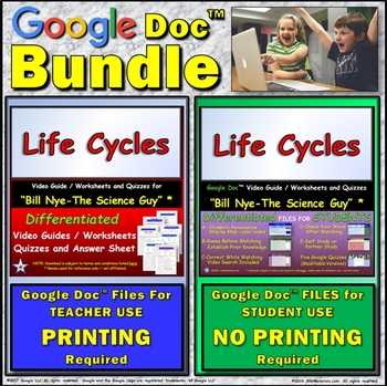 Video Guide, Quiz for Bill Nye – Life Cycles * Value BUNDLE