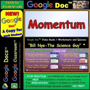 Video Guide, Quiz for Bill Nye – Momentum * Google Doc™ for Student