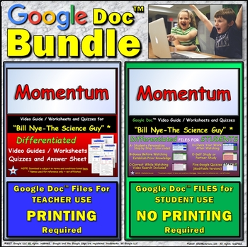 Video Guide, Quiz for Bill Nye – Momentum * Value BUNDLE