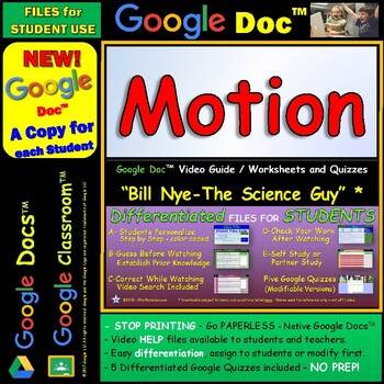 Video Guide, Quiz for Bill Nye – Motion * Google Doc™ for Student