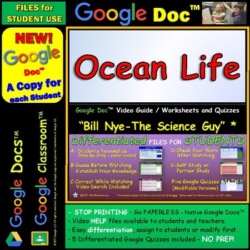 Video Guide, Quiz for Bill Nye – Ocean Life * Google Doc™ for Student