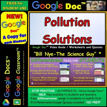 Video Guide, Quiz for Bill Nye – Pollution Solutions * Google Doc™ for Student