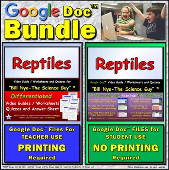 Video Guide, Quiz for Bill Nye – Reptiles * Value BUNDLE