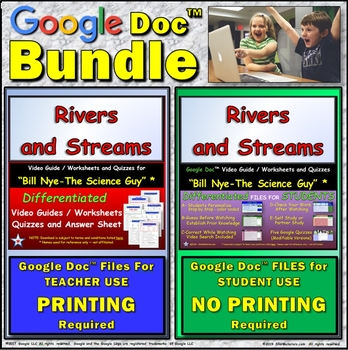 Video Guide, Quiz for Bill Nye – Rivers and Streams * Value BUNDLE