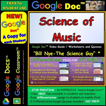 Video Guide, Quiz for Bill Nye – Science of Music * Google Doc™ for Student
