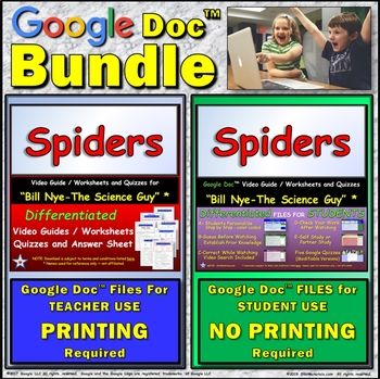 Video Guide, Quiz for Bill Nye – Spiders * Value BUNDLE