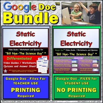 Video Guide, Quiz for Bill Nye – Static Electricity * Value BUNDLE
