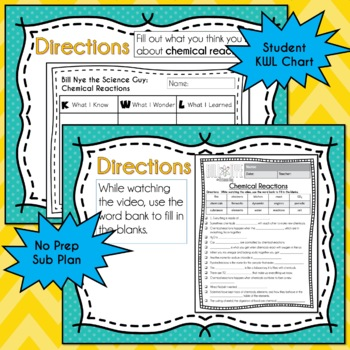 Bill Nye CHEMICAL REACTIONS - Video Guide, Quiz, Sub Plan, Worksheets, Lesson
