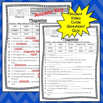 Bill Nye MAGNETISM - Video Guide, Quiz, Sub Plan, Worksheets, No Prep, Lesson