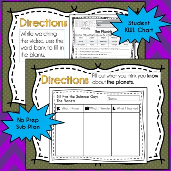 Bill Nye Science - The Planets Video Guide, Worksheets
