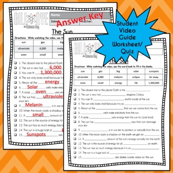 Bill Nye Science - The Sun Video Guide, Worksheets