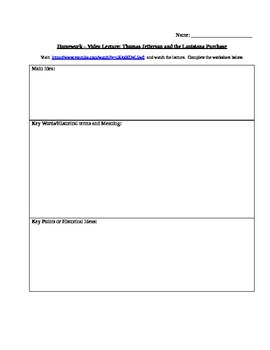 Video Lecture Worksheet